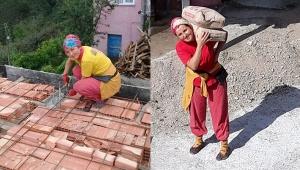 Ayşe usta, inşaatlarda erkek meslektaşlarından geri kalmıyor
