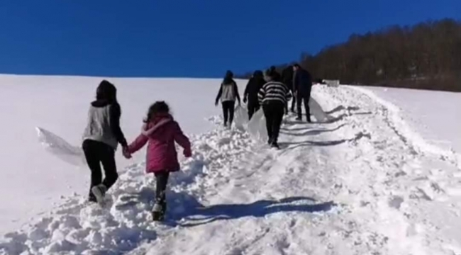 Gölköy Uluvahta da kar'da kayma keyfi