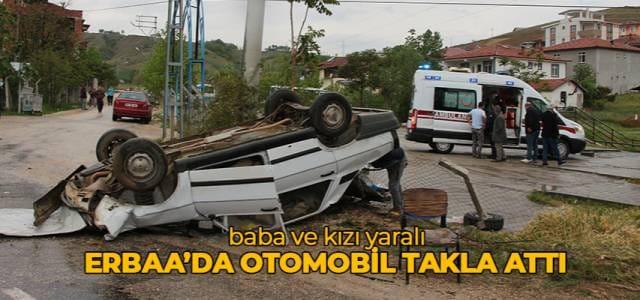 Tokat'ın Erbaa ilçesinde otomobil takla attı