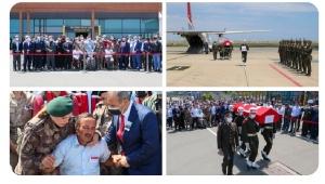 Şehit İs. Asb. Çvş. Fatih Güney' in naaşı, Ordu-Giresun Havalimanında karşılandı